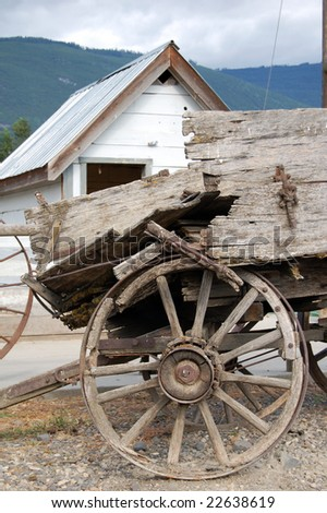 old broken wagon in canada - stock photo