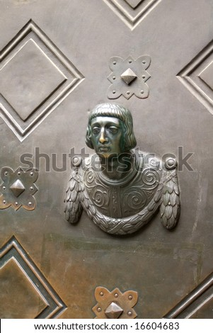 Old bronze door's handle, Munich, Germany