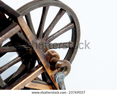 old bronze machine on white background, metal structure