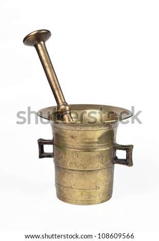 Old bronze mortar with pestle, on white background - stock photo