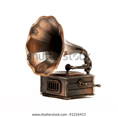Old bronze Phonograph over white background. Isolated - stock photo