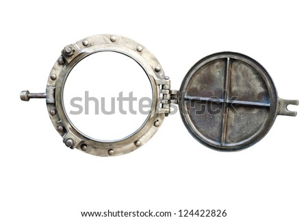 old bronze porthole isolated on white - stock photo