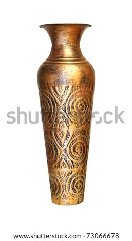 Old bronze vase isolated with clipping path included - stock photo