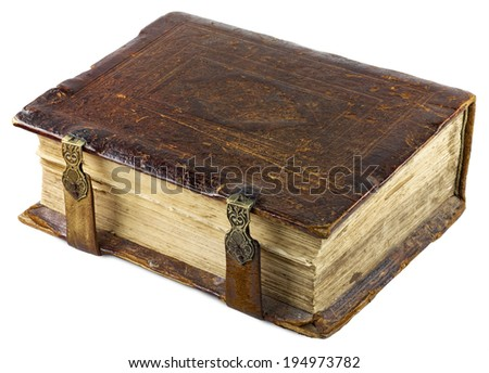 Old brown book with golden clasp isolated on white background - stock photo