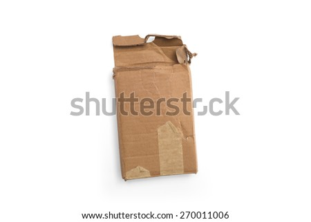 Old brown cardboard box isolated on white background - stock photo