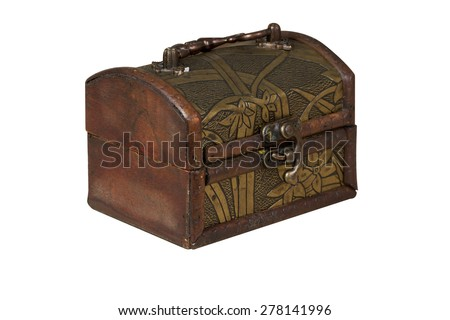 Old brown chest isolated on white background - stock photo