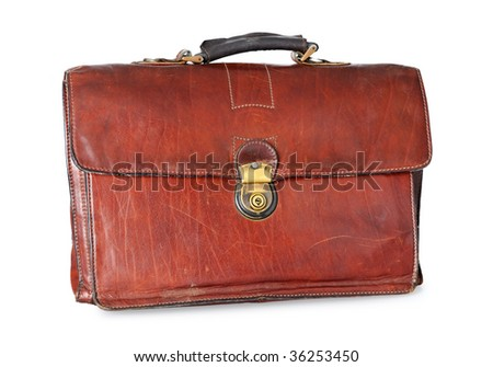 old brown leather briefcase of a businessman - stock photo