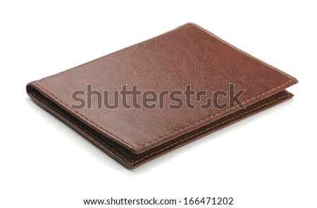 Old brown leather cover isolated on white - stock photo