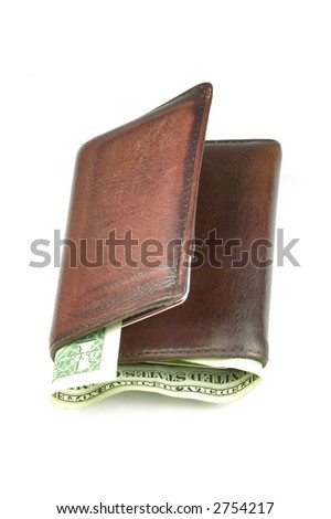 Old brown leather wallet with a dollar bill sticking out, isolated on white - stock photo