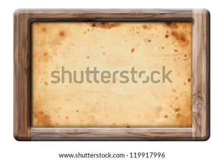old brown paper in wooden frame