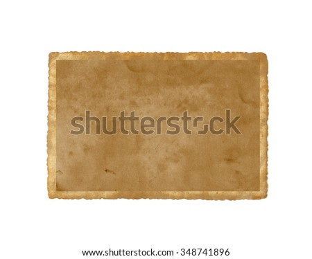 Old brown paper isolated . Vintage photo - stock photo