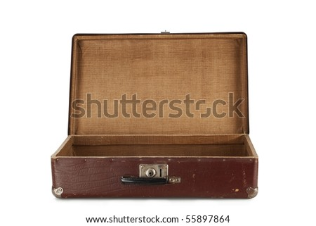 Old brown suitcase for travel isolated on white background - stock photo