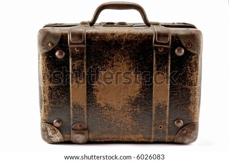 Old brown suitcase for travel white background. - stock photo