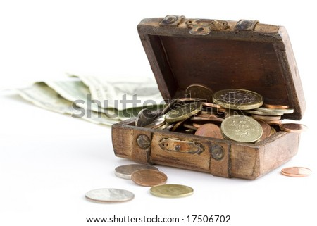 Old brown suitcase full of money on white background - stock photo