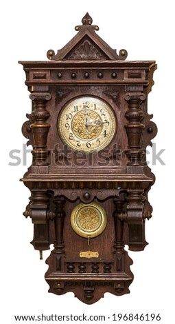 Old,brown wall clock isolated on white. - stock photo