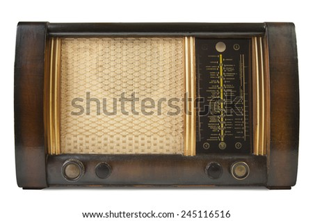 Old brown wooden radio - stock photo