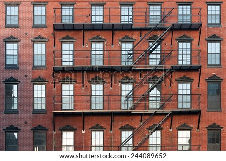 Old brownstone apartment building in center city Philadelphia - stock photo