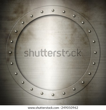Old brushed Steel round frame background texture wallpaper - stock photo