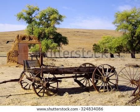 Old Buckboard Wagon - stock photo