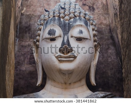 old buddha head image,At wat Sri chum,Sukhothai,Thailand.