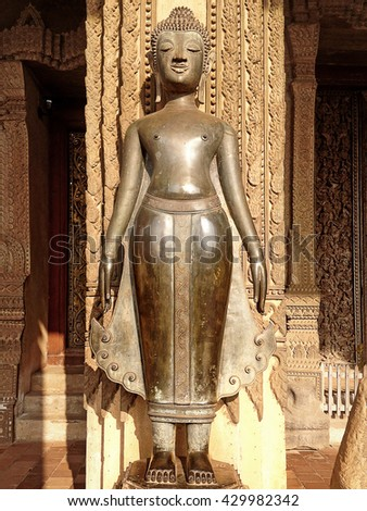 Old Buddha image in Wat Sisaket (Temple in Vientiane, Laos) popular place to visit in Vientiane city and landmark (These Buddha images mainly date from the 16th and 19th centuries) - stock photo
