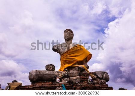 Old Buddha statue at Wat Chag yai, Ayuttaya,Thailand - stock photo