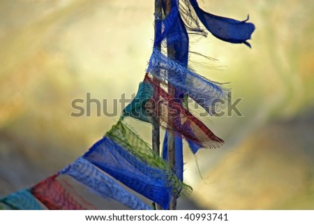 old buddhist praying flags - stock photo