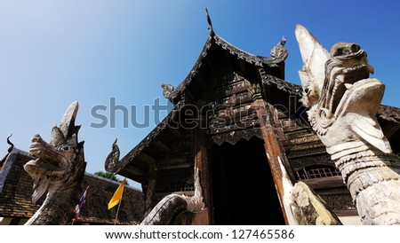 Old Buddhist Sanctuary with King of Nagas, Wat Ton Kwan, Chiang Mai, Thailand. - stock photo