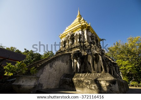 old buddhist  temple in chiang mai thailand  - stock photo