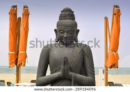 Old Budha - statue in Asia - stock photo