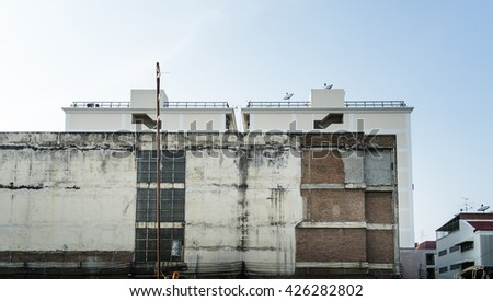 Old Building and blue sky background - stock photo