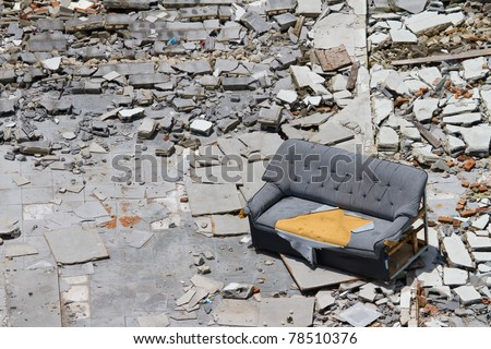 Old building collapsed - stock photo