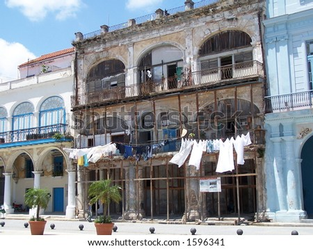 Old building in Havana (2) - stock photo
