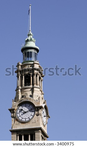 Old Building Tower With Clock, Central Station, Sydney, Australia