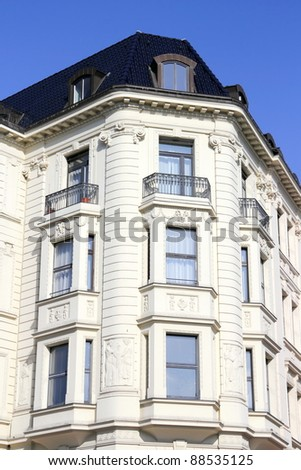 Old building with stucco facade - stock photo