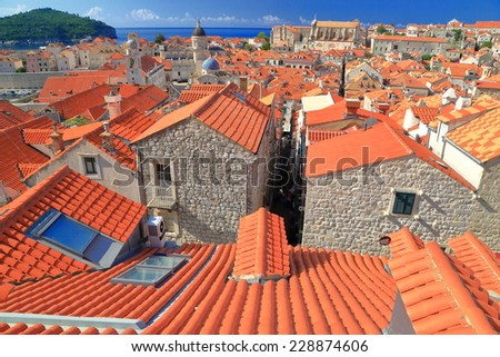 Old buildings and orange roofs in the old town of Dubrovnik, Croatia - stock photo