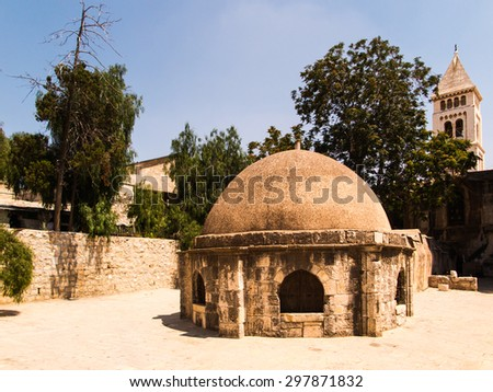 Old buildings in a Coptic part of the complex of the Basilica of the Holy Sepulchre in Jerusalem, Israel - stock photo