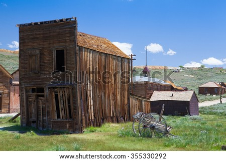 Old buildings in Bodie, an original ghost town from the late 1800s - stock photo