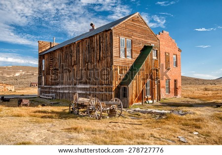 Old buildings in Bodie ghost town, California, USA - stock photo