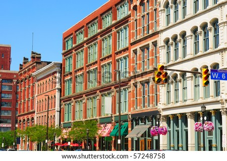 Old buildings in downtown Cleveland's Warehouse District, a trendy new residential and entertainment area - stock photo