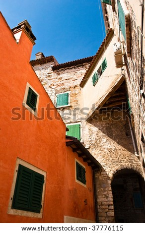 Old buildings in Rovinj town, Croatia