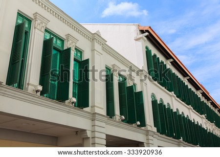 Old buildings in Singapore - stock photo