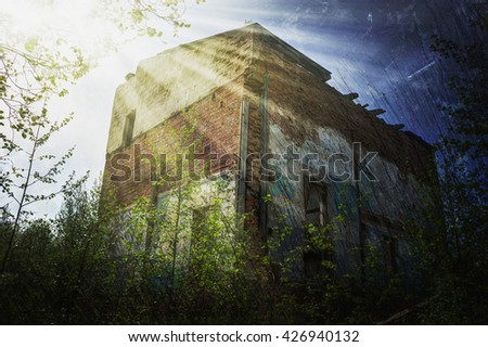 Old buildings in the abandoned town. Photos in a hdr style. - stock photo
