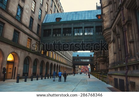 Old buildings in the city center of Manchester, UK - stock photo