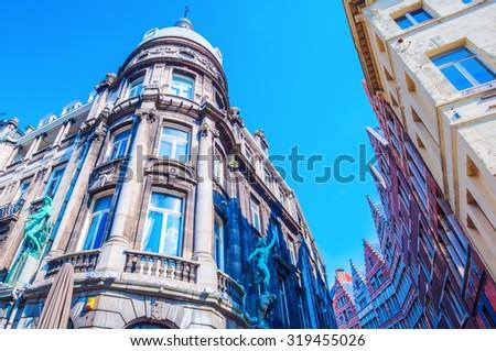 old buildings in the old town of Antwerp, Belgium - stock photo
