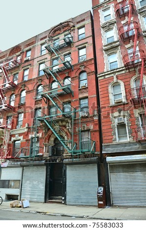 Old buildings (Lower East Side, New York) - stock photo