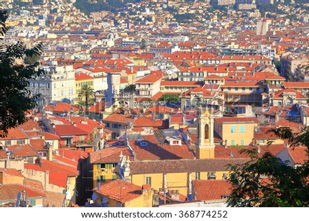 Old buildings of Nice seen from above in sunny day, French Riviera, France - stock photo