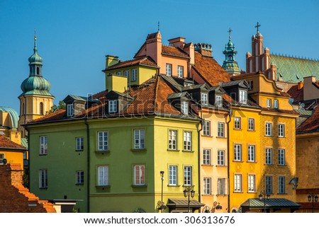 Old buildings on the castle square in the center of Warsaw, Poland - stock photo