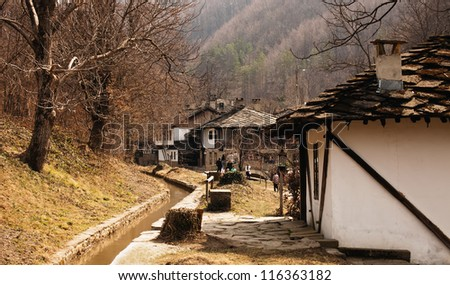 old bulgarian village in traditional wooden style