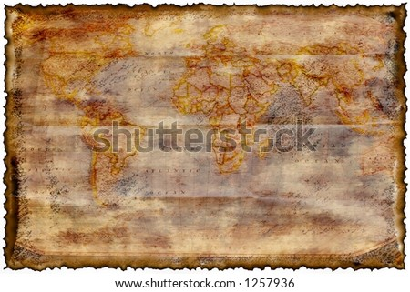Old burned map texture with room to write . - stock photo